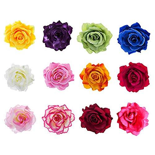 12 Pezzi Clip di Fiori per Capelli,Accessori per Barrette per Capelli Rosa Multicolore per Matrimonio da Spiaggia per Ragazze da Donna