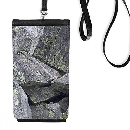 DIYthinker donkere stenen stukjes behang kraken mos imitatie lederen smartphone opknoping portemonnee zwart telefoon portemonnee cadeau