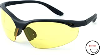 Calabria 91348 Bi-Focal Safety Glasses UV Protection in Yellow +3.00