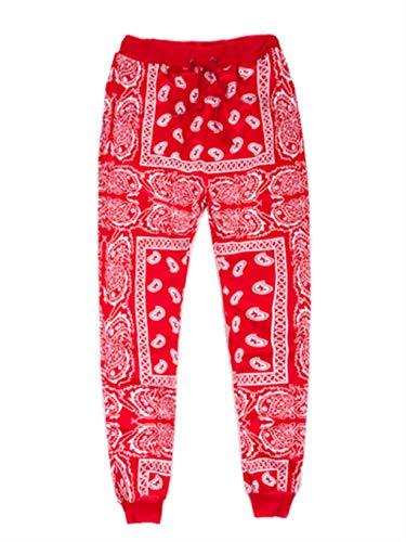 Unisex Fashion Man Skateboard Loose Hip Hop Swag Bandana Jogger Pants Red L