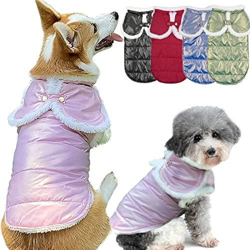 Etechydra Impermeabile Cappottino Giacca per Cani, Bellissimofinitura Perlescente Gilet per Cani Gatti, Caldo Cappotto per Cani in Pile, Giacche per Cani e Gatti Cappotti Rosa XS