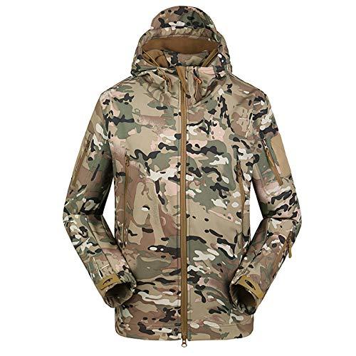 THWJSH Chaqueta de combate para hombre, temporada de invierno, chaqueta de airsoft, chaquetas clásicas de camuflaje de pesca, ropa de caza con capucha Softshell, al aire libre, playa, deporte, 1, XL