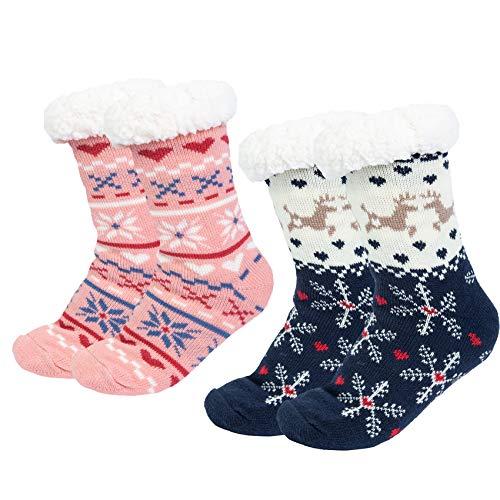 2 pares Calcetines Antideslizantes Invierno, Calcetines Mujer Divertidos Animal, Calcetines Térmicos Navideños Copo de Nieve de Punto Lana