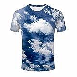 ZeShan Mens Tee Shirts Top S-XXXL Blue Sky Clouds 3D Printing T-Shirt 3XL