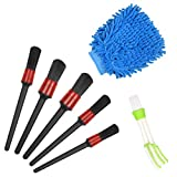MEZOOM Car Detailing Brushes Set Car Cleaner Brush Kit Air Vent Duster with Car Wash Mitt for Cleaning Car Motorcycle Automotive Cleaning Wheels,Dashboard,Interior,Exterior
