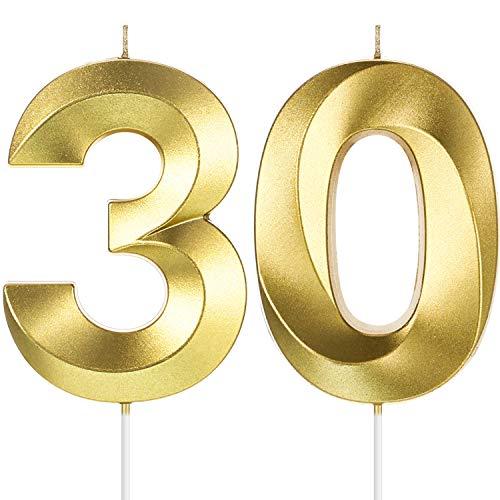 BBTO 4 Zoll Gold 30. Geburtstag Kerzen, 3D Diamant Form Nummer 30 Kerzen Kuchen Topper Ziffer Kerzen für Party Dekoration Wiedervereinigung Thema Party Jahrestag
