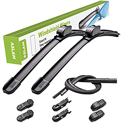 """ASLAM Windshield Wipers All-Season Blade Type-M 24""""+18"""",Multifunctional Adapters and Refills Replaceable,Double Service Life(set of 2)"""