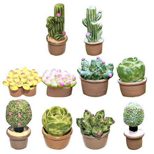 Hemoton 10St Kunstmatige Vetplanten Set Miniatuur Ingegoten Hars Planten Desktop Bonsai Ornament Voor Poppenhuis Doen Alsof Spelen Plank Decoratie Geschenken Gemengde Stijl