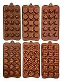 Set di stampi per cioccolatini in silicone per pasticceria, piccoli stampi flessibili per muffin, dolci duri o gommosi, 6 pezzi 21,5 x 11 cm (SBGK1001-2)
