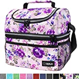 Insulated Dual Compartment Lunch Bag for Women, Ladies | Double Deck Reusable Lunch Box Cooler with Shoulder Strap, Leakproof Liner | Medium Lunch Pail for School, Work, Office (Floral Purple)