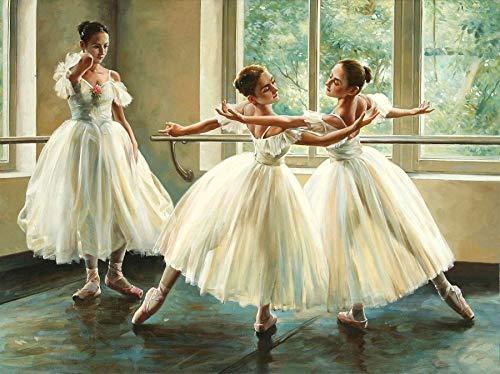 Zariocy - Pintura por números para adultos, ballet bailarina, lienzo de pintura acrílica por número para niños estudiantes principiantes con pinceles y pigmentos, decoración de pared 40 x 50 cm.