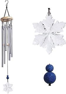 Wind Chimes Outdoor Garden Home Decor, Unique Annual Crystal Snowflake Patio Windbell, Lava Rock Essential Oil Diffuser, A...