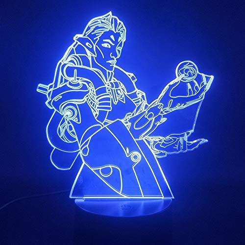 sanzangtang Luz de Noche LED 3D-Vision-Seven-Color-Remote-Light Game Pioneer Best Gift luz de Noche de Color para niños con Control Remoto decoración de Interiores