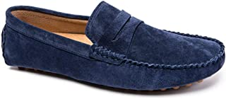 HBSSEE Driving Loafer for Men Boat Moccasins Slip On Style Gray Suede Leather Simple Pure Color British Style