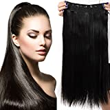 26' Extension Cheveux a Clip Monobande - Extension a Clip 66CM(26 pouces) - Noir Naturel