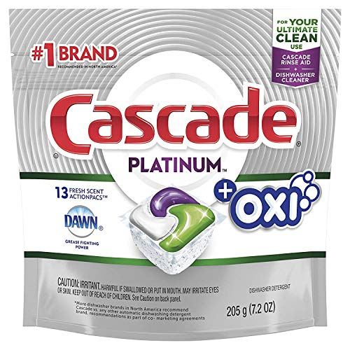 Cascade Platinum ActionPacs Dishwasher Detergent with the Power of Clorox Fresh Scent, 17 ct