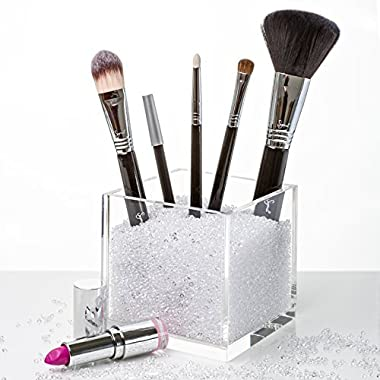 Luxury Acrylic Makeup Brush Holder with over 50,000 Beautiful CLEAR Diamonds. Premium Quality, Hand-Crafted Acrylic - Over 75% Full of Diamonds to Hold Your Brushes Firmly in Place