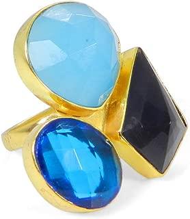 SUNNYHER Natural Black Onyx Agate Gemstone Plain Band Ring