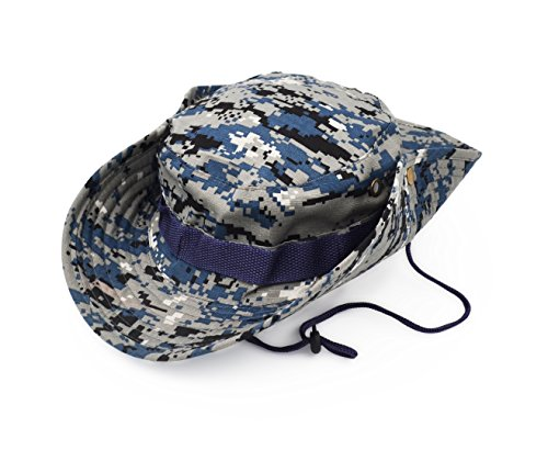 Outdoor Wide Brim Sun Protect Hat, Classic US Combat Army Style Bush Jungle Sun Cap for Fishing Hunting Camping Blue Digital 17
