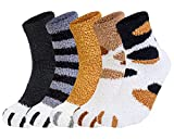 Loritta 5 Pairs Womens Fuzzy Socks Cozy Soft Fluffy Cute Cat Animal Winter Warm Slipper Socks Christmas Stocking Stuffers Gifts