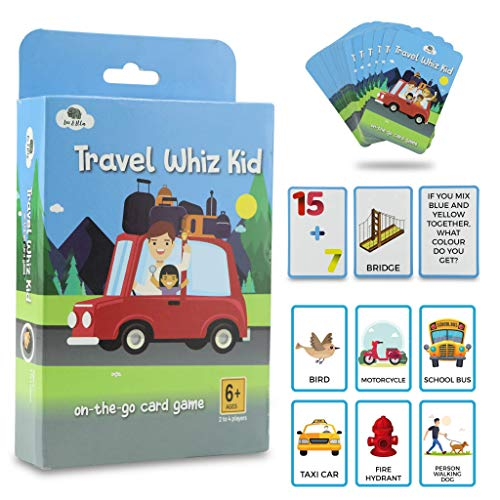 Leo&Ella Travel Card Game for Kids and Adults - Educational Trivia Based Card Game with Scavenger, Trivia and Math Questions - for Kids Aged 6+