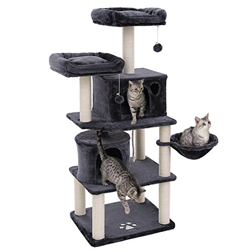 FEANDREA Multi-Level 60 inches Cat Tree with Sisal-Covered Scratching Posts, Plush Perches, Basket and 2 Condos, Cat Tower Furniture - for Kittens, Cats and Pets - Smoky Gray UPCT90G