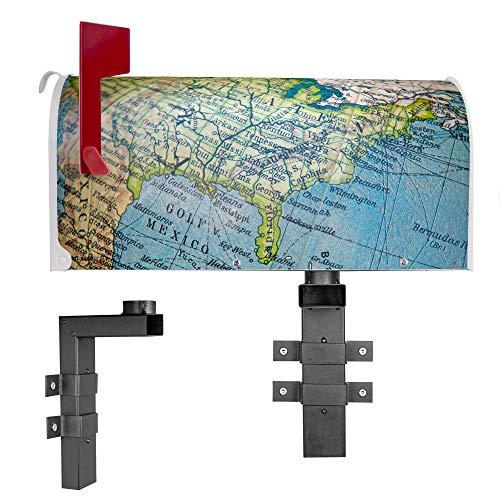 BANJADO US Mailbox | Amerikanischer Briefkasten 51x22x17cm | Letterbox Stahl weiß | mit Motiv Globus | inklusive Wandhalterung