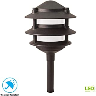 Hampton Bay Low Voltage LED Black 3-Tier Metal Path Light - Lasts Up to 50,000 HOURS - Costs Just Pennies to Operate - Corrosion RESISTANT - DURABLE Yet Elegant - 5 Year Warranty