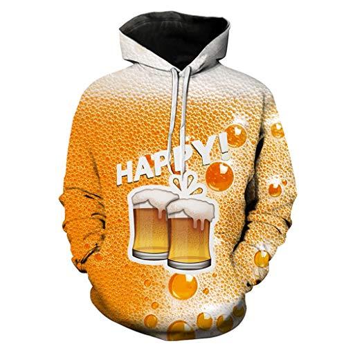 Xmiral Hoodie Sweatshirt Herren 3D Bier Drucken Kapuzenpullover mit Tunnelzug Tasche Herbst Camping Outdoor Tops Pullover für Oktoberfest(Orange 2,3XL)
