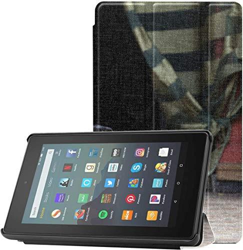Cubierta Funda para Tableta Kindle Fire Funny Dog Beagle Haciendo Yoga Funda Fire 7 2019 para Tableta Fire 7 (novena generación, versión 2019) Ligera con Reposo automático/activación