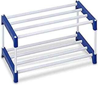 PHILOSHOP 2 Layer Multipurpose Plastic Rack Organizer Book Case Book Shelves for Shoe/Clothes/Books (White)