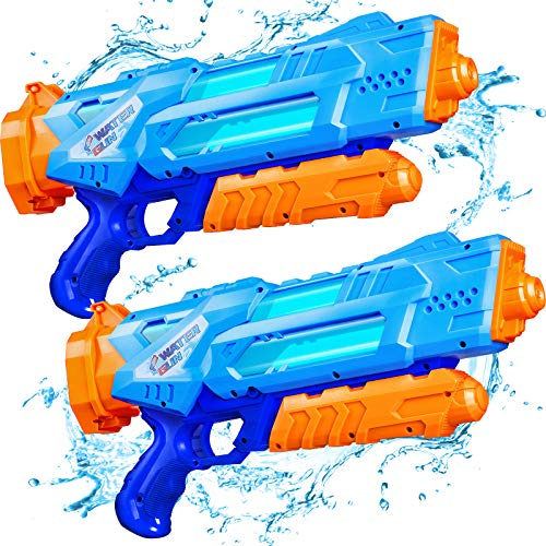 Quanquer Water Guns for Kids, 2 Pack Super Water Blaster Soaker Squirt Guns, 1200cc High Capacity Gifts for Kids & Adult Summer Swimming Pool Beach Sand Outdoor Water Fighting Play Toys