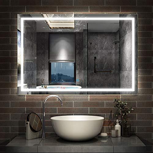 AicaSanitär LED Badspiegel 120×80cm Badspiegel mit Beleuchtung Lichtspiegel Badezimmerspiegel Wandspiegel Touch-Schalter Antibeschlag IP44 Kaltweiß energiesparend