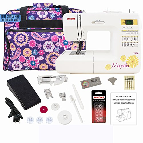 Cheapest Price! Janome 7330 Computerized Sewing Machine Bundle with Purple Tote, One 10-Pack Janome ...