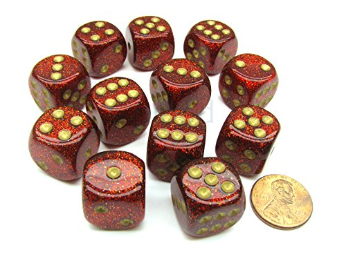 Chessex Glitter 16mm D6 Dice Block (12 Dice) - Ruby Red with Gold Numbers