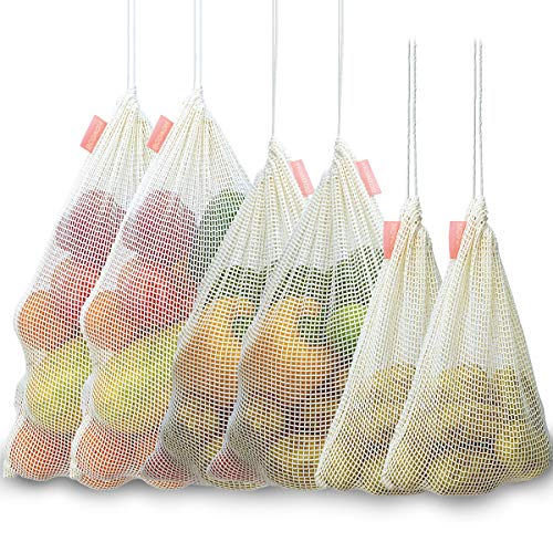 Reusable Organic Cotton Mesh Produce Bags Cloth Muslin Bags for Grocery Shopping Washable Eco Friendly Bags With Drawstring Potato Onion Storage Root Vegetable Keeper Holder Bin Fresh