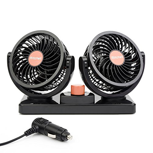 ChiTronic Dual Head Rotatable Car Vehicle Air Cooling Fan - Dashboard & Console Stick-On, A/C Quick Cooling, Smoke Smell Ventilation, 2 Speed Control, 1.8M Cord (24V)