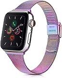 Wanme Cinturino per Apple Watch Cinturino 38mm 40mm 42mm 44mm, Metallo Sottile Cinturini Compatibile con Apple Watch iWatch Series 6 5 4 3 2 1 SE, con Strumenti (Colorato 42/44MM)