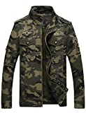 Springrain Men's Casual Slim Stand Collar Tooling Camouflage Cotton Jackets (X-Large, Army Green)