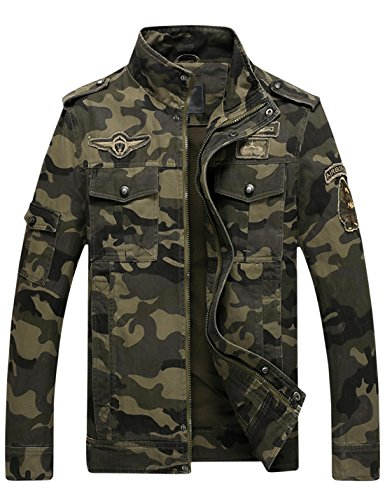 Springrain Men's Casual Slim Stand Collar Tooling Camouflage Cotton Jackets (Medium, Army Green)