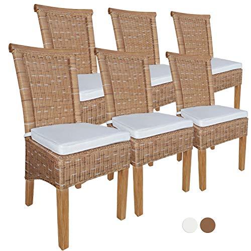 Casamia Perth - Juego de 6 sillas de Comedor (ratán, sin Respaldo, 6 Unidades), Color marrón