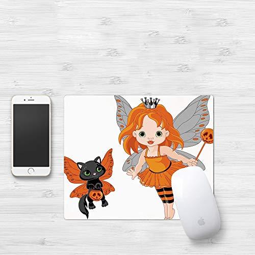 Mauspad mit genähten Kanten,Halloween, Halloween Baby Fairy und ihre Katze in Kostümen Schmetterlinge Mäd,rutschfeste Gummi-Basis-Mousepad, Gaming und Office mauspad für Laptop, Computer & PC320x250mm