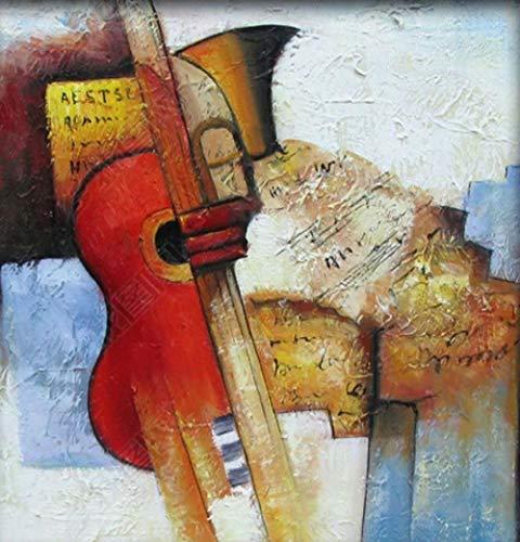 Malen Nach Zahlen Erwachsene Gitarre Und Trompete Abstrakte Grafik Wand Dekorgeschenke Für Erwachsenen 60X70Cm Haben Rahmen