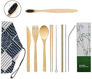 Vajilla de bambú vajilla de Madera Reutilizable vajilla de Camping al Aire Libre con Cuchara de bambú, Tenedor, Cuchillo, Palillos, Cepillo de Dientes, Tubo de Metal Recto, Codo