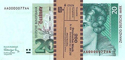 *** 10 x 20 DM, Deutsche Mark, Geldscheine 1991, mit Banderole - Reproduktion ***