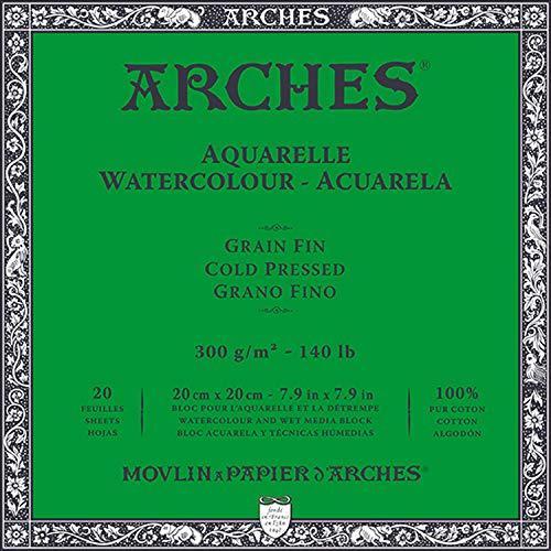 ARCHES Block Enc 4L 20x20 20H Aquarelle 100% fein 300g, Schwarz