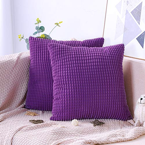 Artscope Pack of 2, Soft Corduroy Solid Color Cushion Covers Big Corn Decorative Square Pillowcases Throw Pillow Covers for Sofa Chair Bedroom Car 45x45cm/18x18 Inch (Purple)