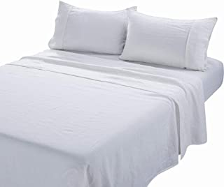 meadow park Stone Washed Pure Linen Sheet Set 4 Pieces - Super Soft - Deep Pocket, Queen Size, Ivory