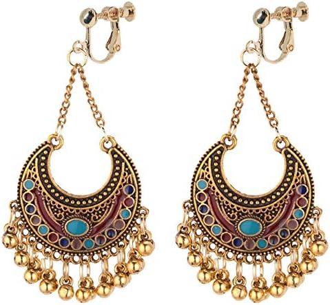 Boho Clip on Dangle Earrings for Girls Women Enamel Basic Crescent Small Ball Drop Long Chain Fashion