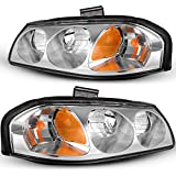 OEDRO Headlight Assemblies Compatible with 2000-2005 Chevrolet Impala, Amber Reflectorss and Clear Lens, Chrome Housing (Driver & Passenger Side)